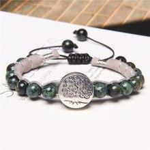 Patroonheilige Serie Armbanden 8 Mm Natuurlijke Polar Jad Stenen Kralen Handgemaakte Weave Bangle Mannen Zilveren Kleur Life Tree Charm pulsera
