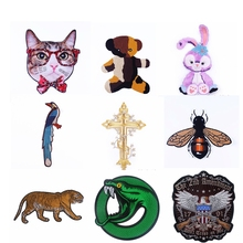 Pulaqi Cartoon Animal Patch Embroidered Patches For Clothing Iron On Clothes Stripes  Bear Magpie Eagle Jacket F
