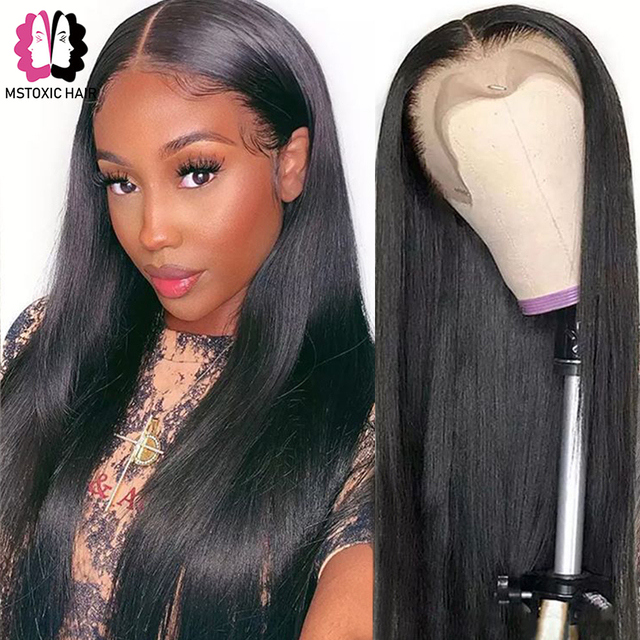 Mstoxic 13×4 Lace Front Human Hair Wigs Brazilian Straight U Part Human Hair Wig 4x4 Closure Wig Remy Hair 360 Lace Frontal Wig