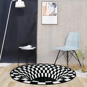 RULDGEE Mandala Alfombra 3D tridimensionnel noir blanc st r o Vision tapis salon paillasson th Table