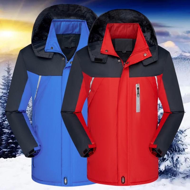 2020 Мужская Утепленная зимняя Лыжная одежда, светоотражающая куртка с хлопковой подкладкой, одежда для дождя, сохраняющая тепло
