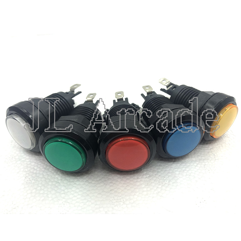 10PCS 32mm Black Edge Small Round Arcade Game LED Illuminated Push Button With Microswitch For Arcade Control Panel Bundle Kit