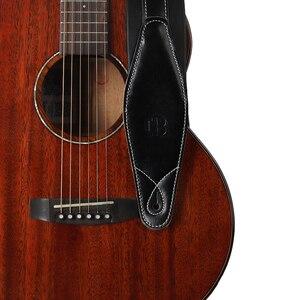 Image 2 - CB Logo Leather Padded Black Guitar Strap for Electric Acoustic Guitar Bass Adjustable Belt