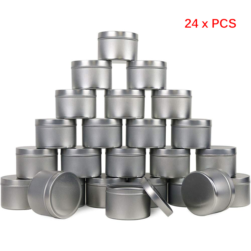 Candle Tins Metal Empty Candle Jar Containers Slip-On Lids For Candle Making Party Favors Food Spices Balms Gels Storage 24-Pack