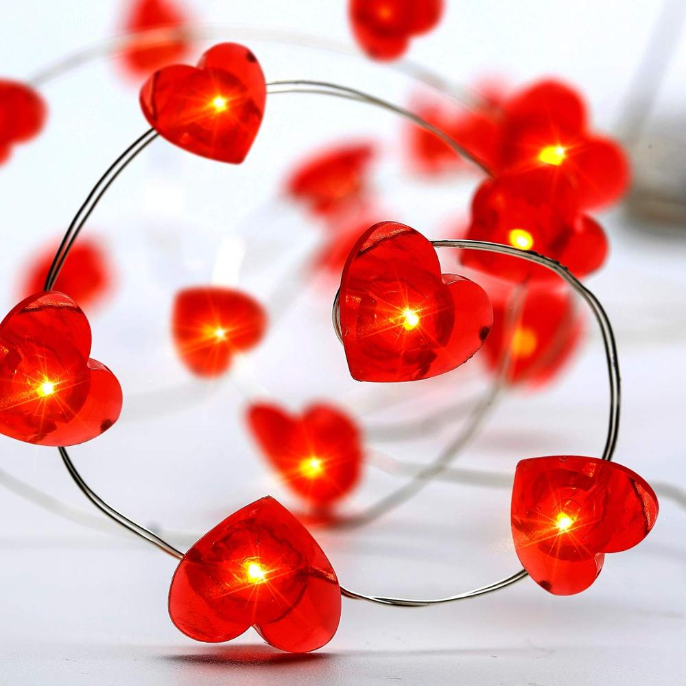 3METERS 40 Heart LED String Lights Battery Powered , For Wedding, Christmas, Valentines Day, Birthday Parties, DIY Home Mantel