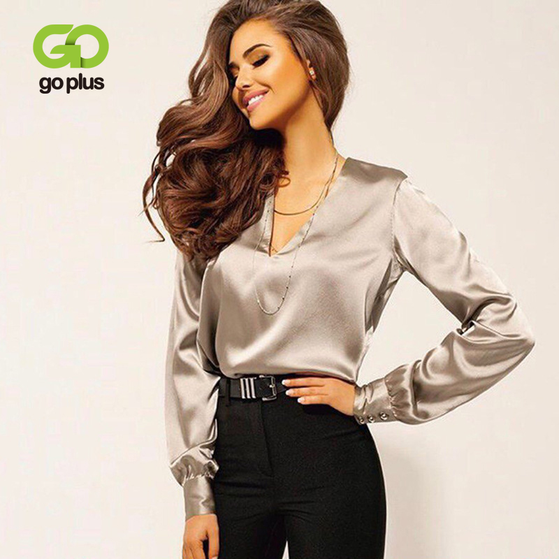 Spring Women's Blouse Vintage Pink V-neck Satin Plus Size Blouse Women Top And Blouses Blusas Mujer De Moda 2020 Ropa Mujer