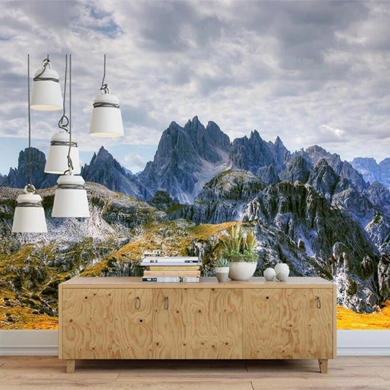 Custom 3D Wall Mural Wallpaper Home Decor Green Mountain Grass Nature Landscape 3D Photo Wall Paper For Living Room Bedroom