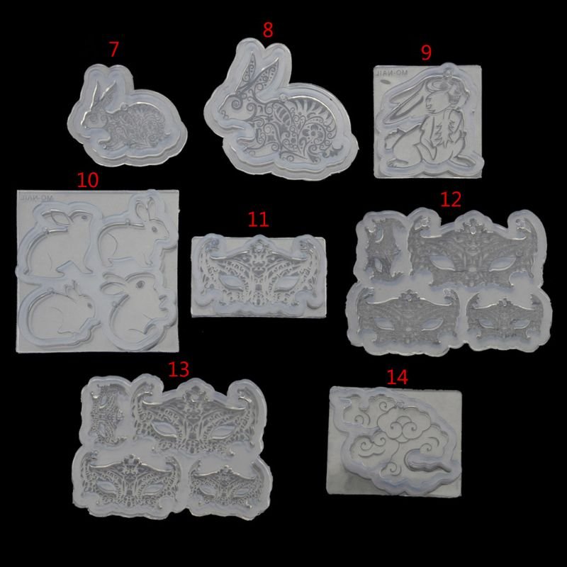 8Styles DIY Cute Rabbit Mask Cloud Pendant Silicone Resin Mold Jewelry Making Tools