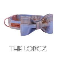 Blue Plaid Bow Tie Collar & Leash Set