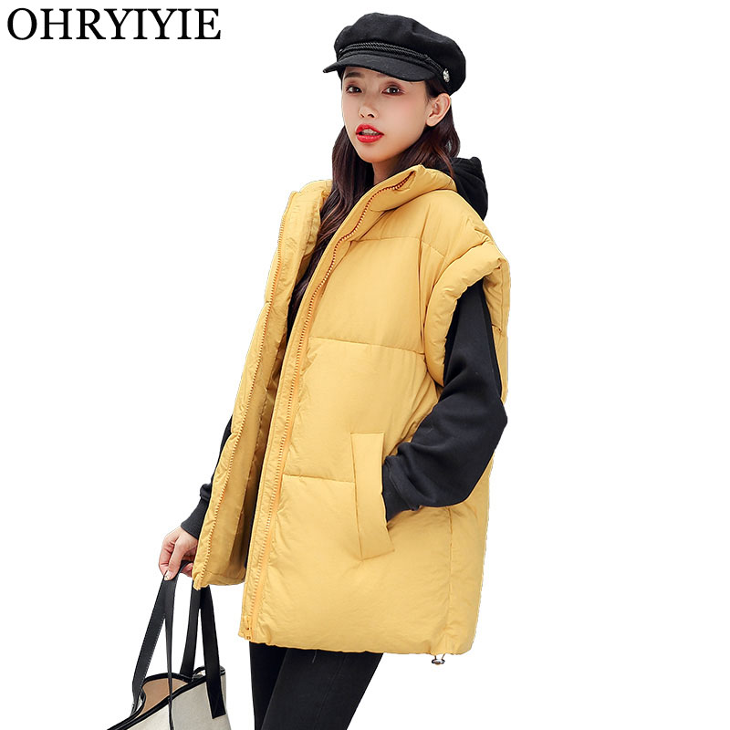 OHRYIYIE Large Size Autumn Winter Vest Women Waistcoat 2020 New Fashion Female Loose Sleeveless Jackets Thick Warm Vests Coats