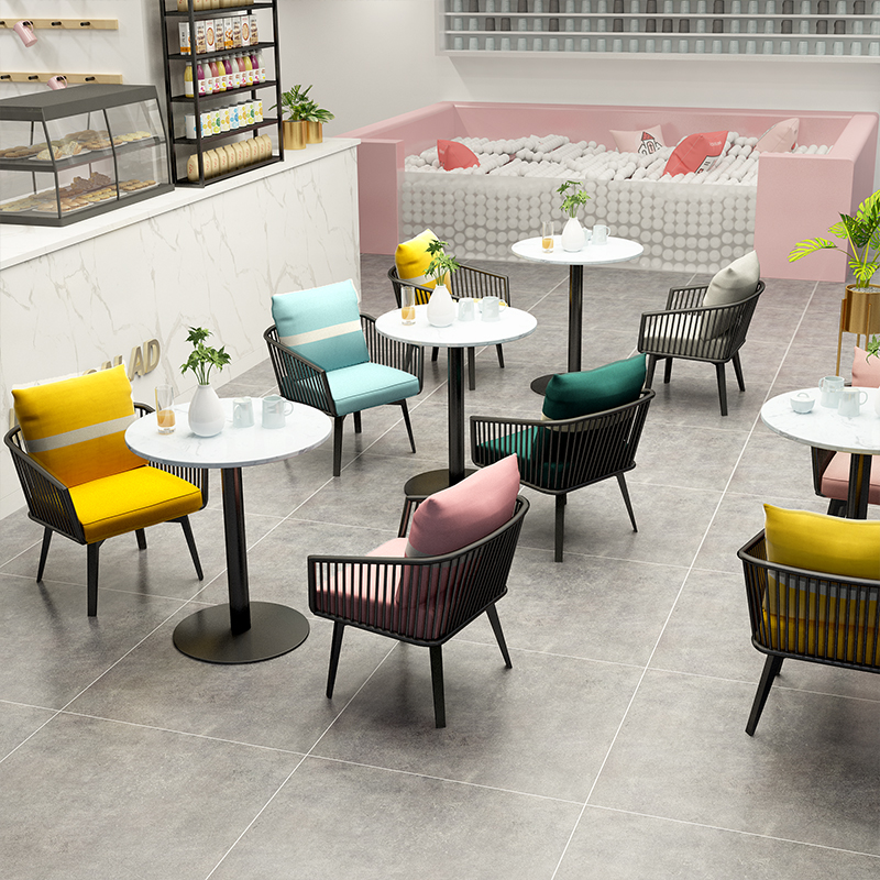 Nordic Net Red Card Seat Sofa Simple Modern Coffee Shop Lounge Chair Stool Tea Dessert Shop Table And Chair Combination