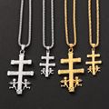 Золотое, серебряное, католическое, Каравака, распятие, ортодоксальный крест, ожерелье, кулон, Херувим, ангел, христианское ожерелье, s для жен...