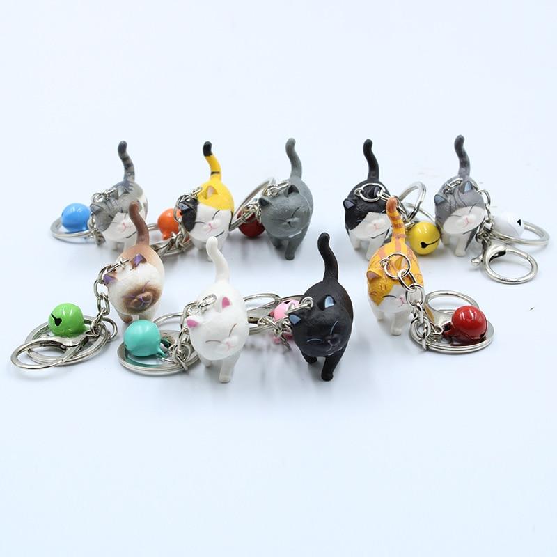 Fashion Cute Cartoon Walking Cat Pendant Key Rings Kitten Pet Key Chain Shake Head Bells Car Bag Keychains Charms Jewelry Gift