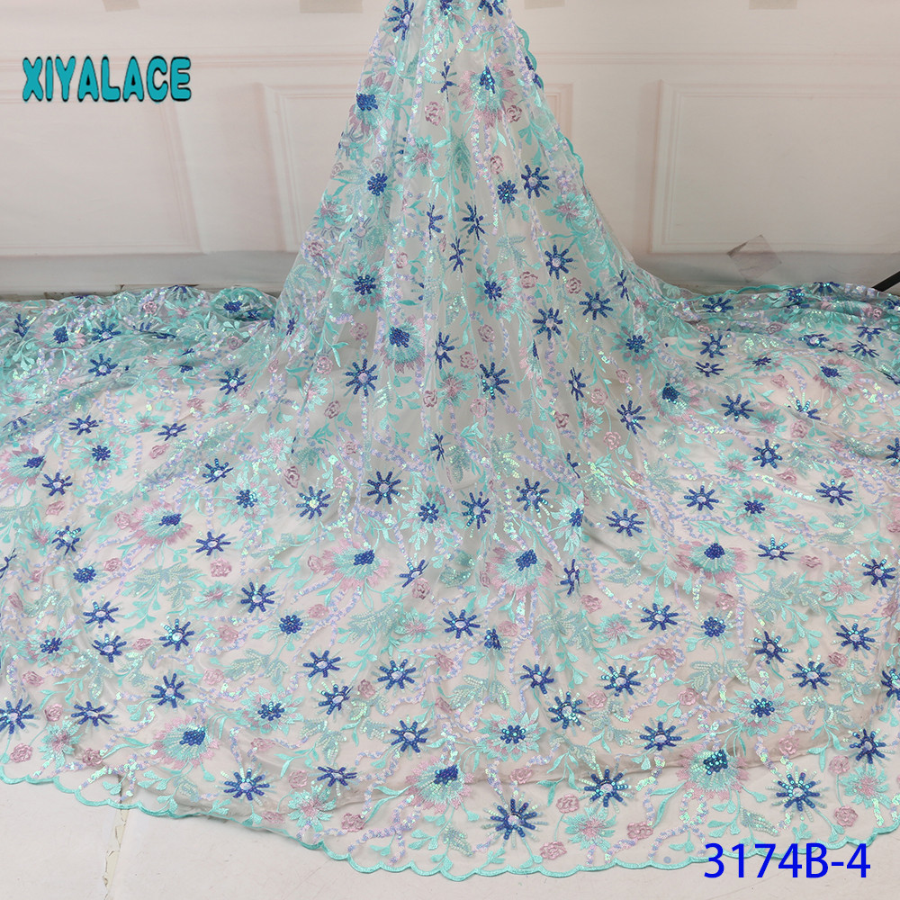African Lace Fabric French Sequins Lace Fabric Women Wedding Dress 2019 High Quality Lace African Tulle Lace Fabric YA3174B-4