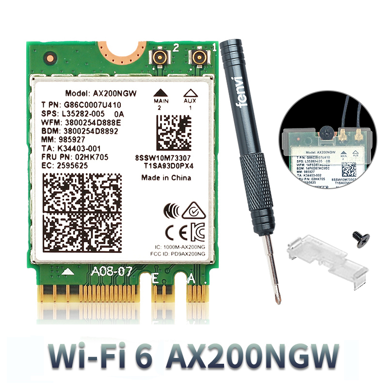 2400Mbps Dual Band 802.11ax M.2 Wireless Wlan Wifi Card For Intel AX200NGW Adapter For Network Card With BT 5.0 MU-MIMO
