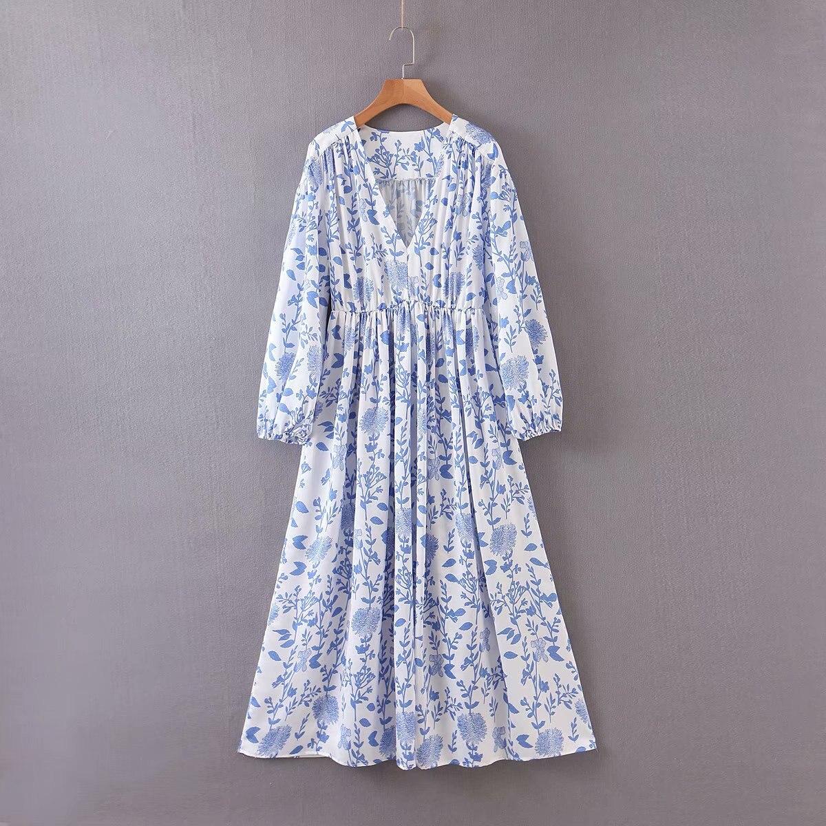 2020 New Spring Summer European Blue And White Porcelain Printed Blue Zaraing Women Dress Vadiming Sheining Female Dress XDL2605