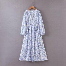 2020 new Spring Summer European Blue and White Porcelain Printed Blue zaraing women Dress