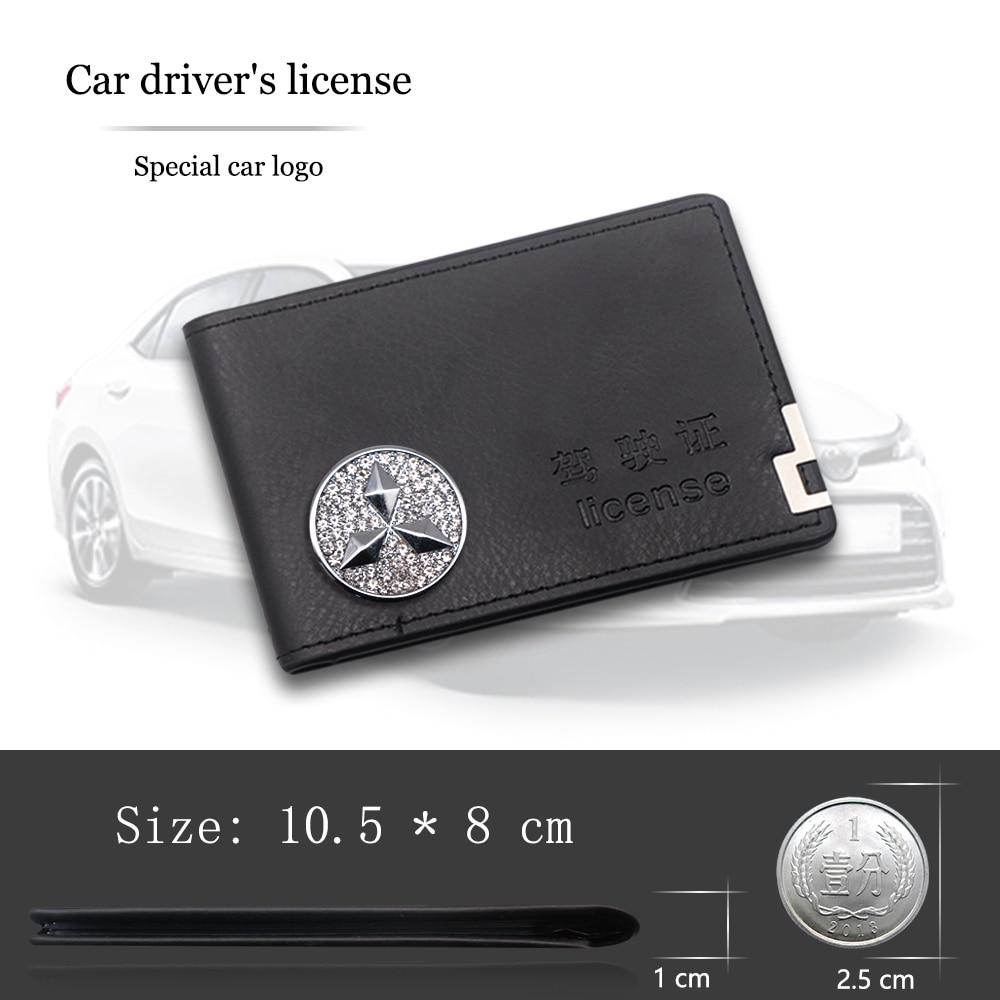 Мужской чехол для водительского удостоверения, кожаный кошелек с зажимом, сумка для карт для автомобиля Mitsubishi ASX Lancer EX Pajero Outlander L200 EVO