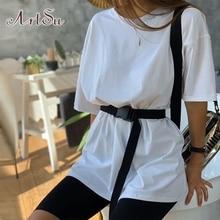 ArtSu Summer Tracksuit Women Two Pieces Sets Loose Long Tshirt Top