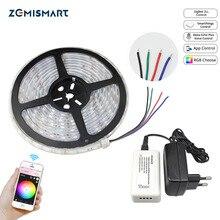 Zemismart Zigbee ZLL נהג עם 5M LED רצועת RGB נמוך מתח שליטה על ידי הד בתוספת ישירות Smartthing