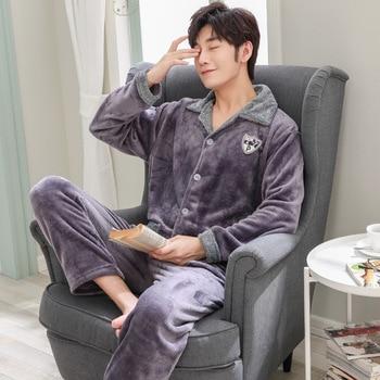 Winter flannel pajamas mens thick warm pyjamas hombre long-sleeve casual Sleepwear men homewear sets for male