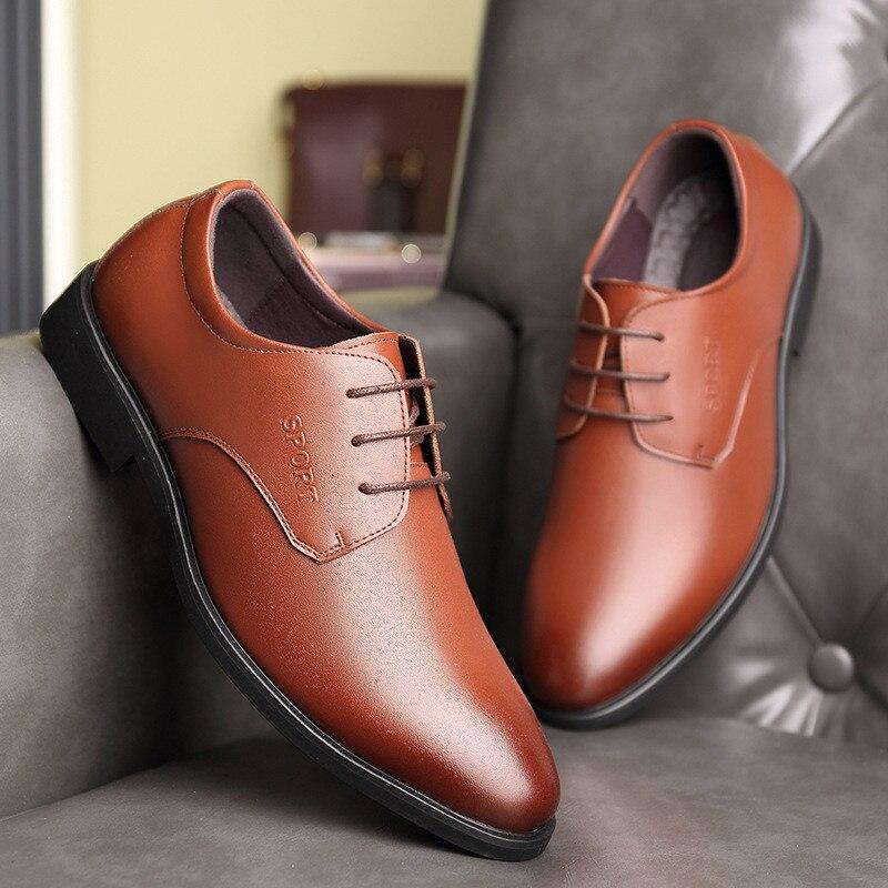 Chaussures pour hommes en cuir hommes d'affaires chaussures habillées mariage marié groomsman chaussures en cuir printemps et automne hommes chaussures habillées