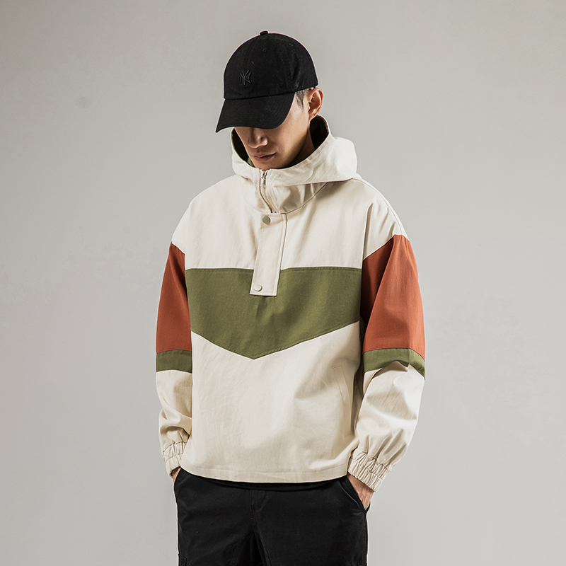 IiDossan HipHop Patchwork Hooded Men Hoodie Windbreaker Jackets For Men Spring Casual Track Harajuku Hoodie Streetwear Tops New