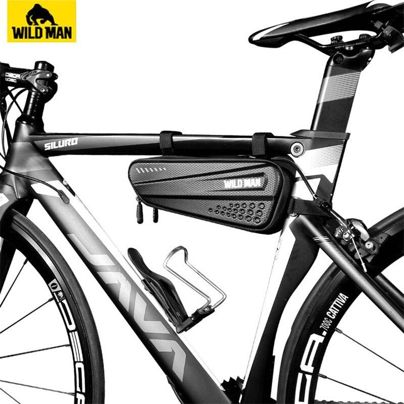 Купить с кэшбэком WILD MAN Bicycle Bag Front Tube Frame Bag Hard Shell Rainproof Bike Bag Double Zipper Triangle Tools Pouch Cycling Accessories