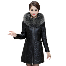 2019 Winter Sheepskin Leather Jacket Women Fur Parka Slim Long Coat Female Womens Down Jackets With Collar Plus Size 7XL 8XL