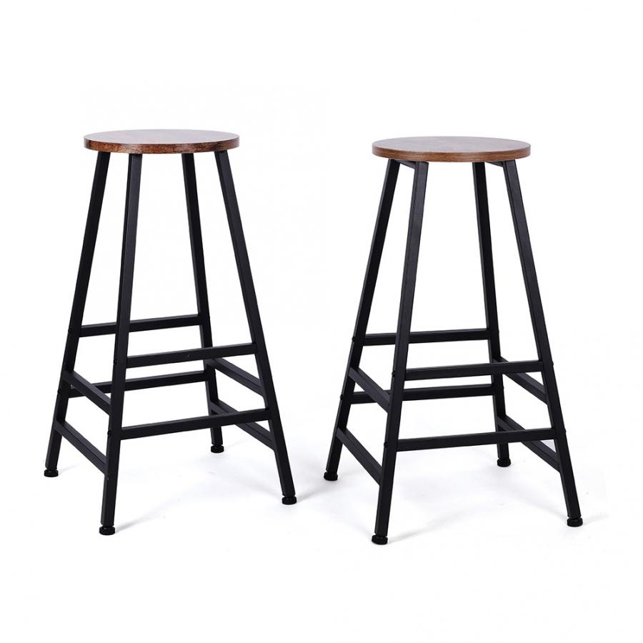 2PC Bar Stool Furniture Kitchen Chair Set Of 2 Rustic Brown Metal Bar Chair