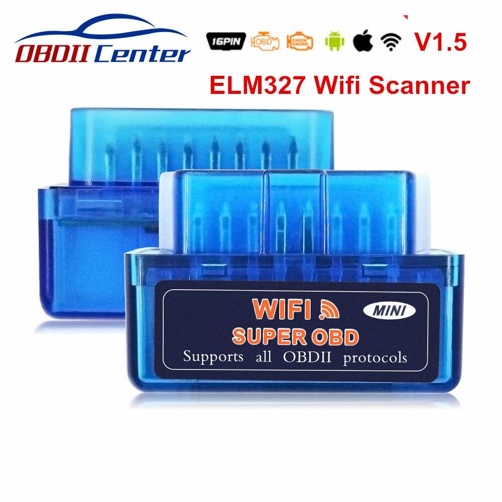 Super Mini OBD2 ELM327 Wifi 1.5 IOS ELM 327 Wi-fi OBD 2 OBD II Scanner de Diagnostic automatique ELM327 V1.5 WIFI OBD2 1.5 lecteur de Code