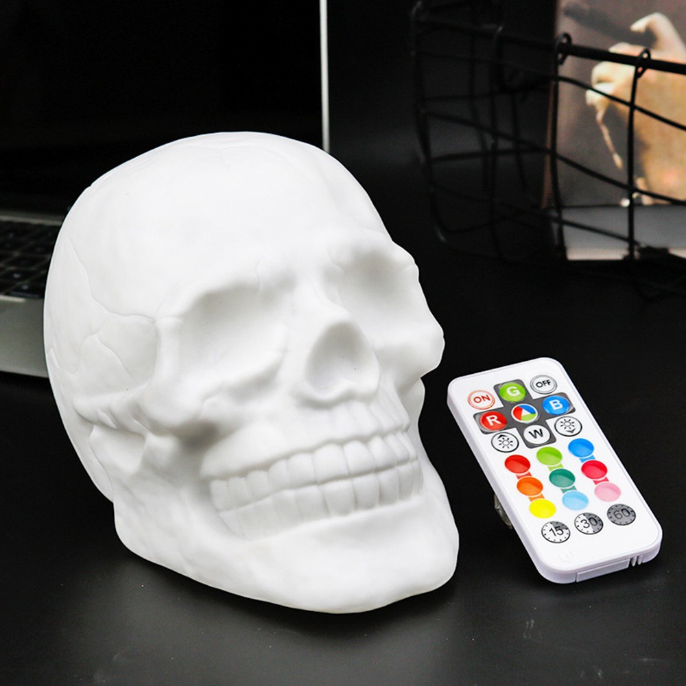 Remote Control Color Changeable Touch Sensor Skull LED Night Light Lamp with Battery USB for Holiday Gift Decoration
