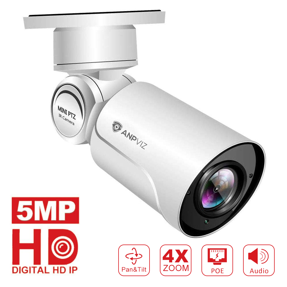 Anpviz nouveau HD POE IP caméra intérieure/extérieure 5MP balle caméras de sécurité panoramique/inclinaison/Zoom 4x Zoom optique intégré Audio Onvif NVR