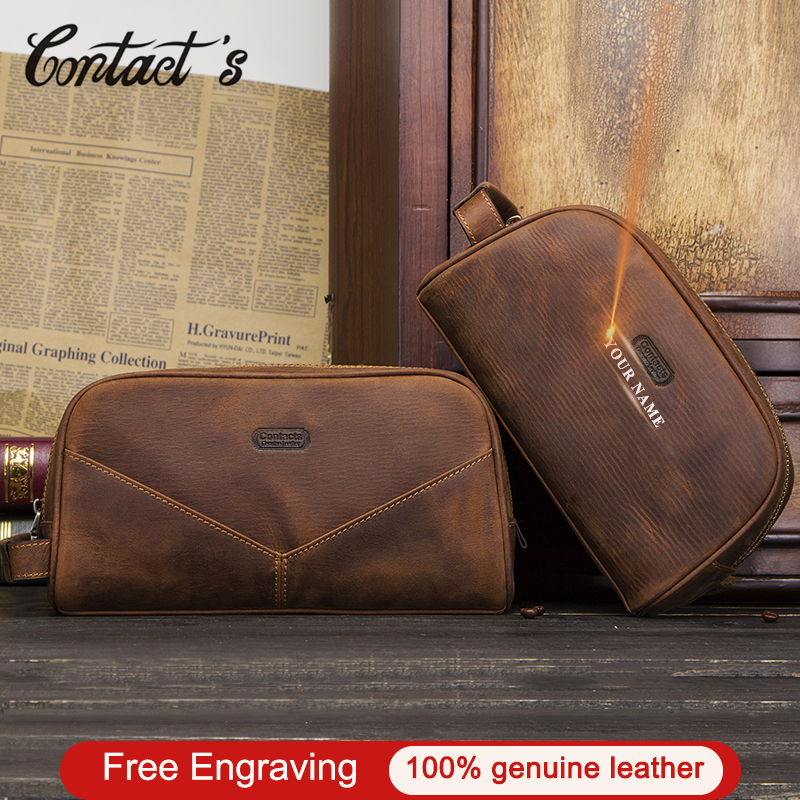Vintage Cosmetic Bag Crazy Horse Genuine Leather Make Up Box Travel Tote Bag Cosmetics Pouch Bags For Man Double Zipper Design