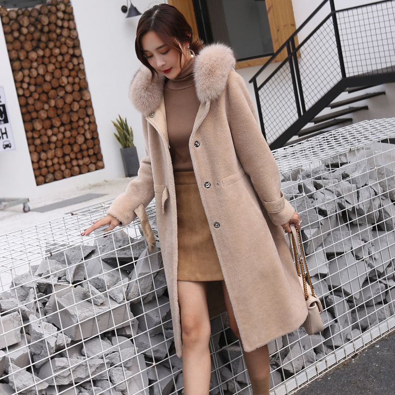 Winter Jacket Women Natural Wool Coat Sheep Shearing Coat Female Real Fox Fur Hooded Warm Clothes Slim Long Parka LWL1363
