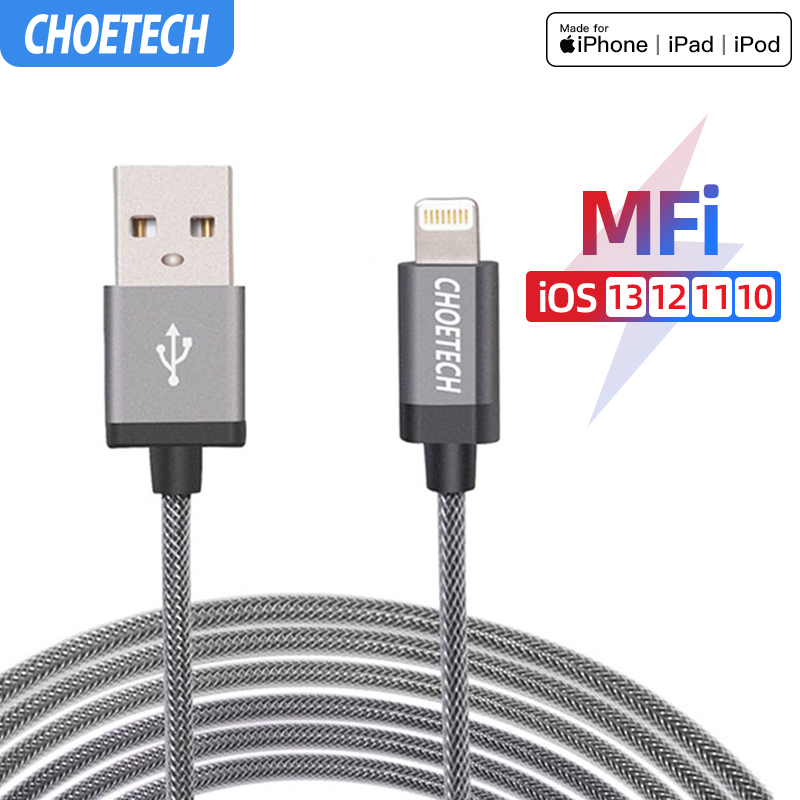 [6.6ft/2m Cable for Lightning to USB] CHOETECH MFi Certified Cable for iPhone 6 6s 6Plus iPad Pro Air 2 iPad Mini 4 3 2 and More