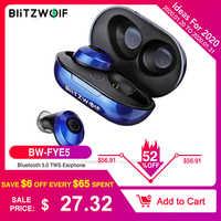 BlitzWolf BW FYE5 bluetooth 5.0 TWS Verdadeiro Fones de ouvido sem fio Fones de ouvido esportivos Tamanho do fone de ouvido HiFi fones de ouvido de bolso Fones de ouvido baixos com som estéreo Fones de ouvido cancelame