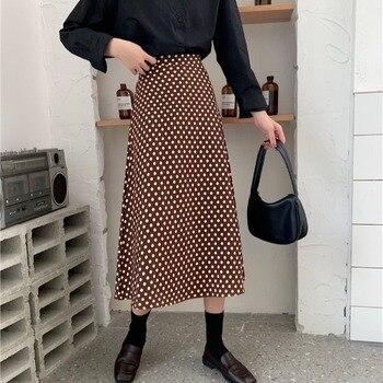 New Korean-Style High-Waist Polka Dot Skirt Women's Mid-Length Hip Slimming A- line Dress Short Skirt Polka Dot One-Step Skirt polka dot overlay tea length vintage dress