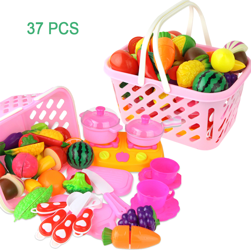 Cutting Vegetable And Fruits Kithcen Toys Set Simulation Food Plastic Pretend Play Kitchen Toy Playset For Children Girls Gift