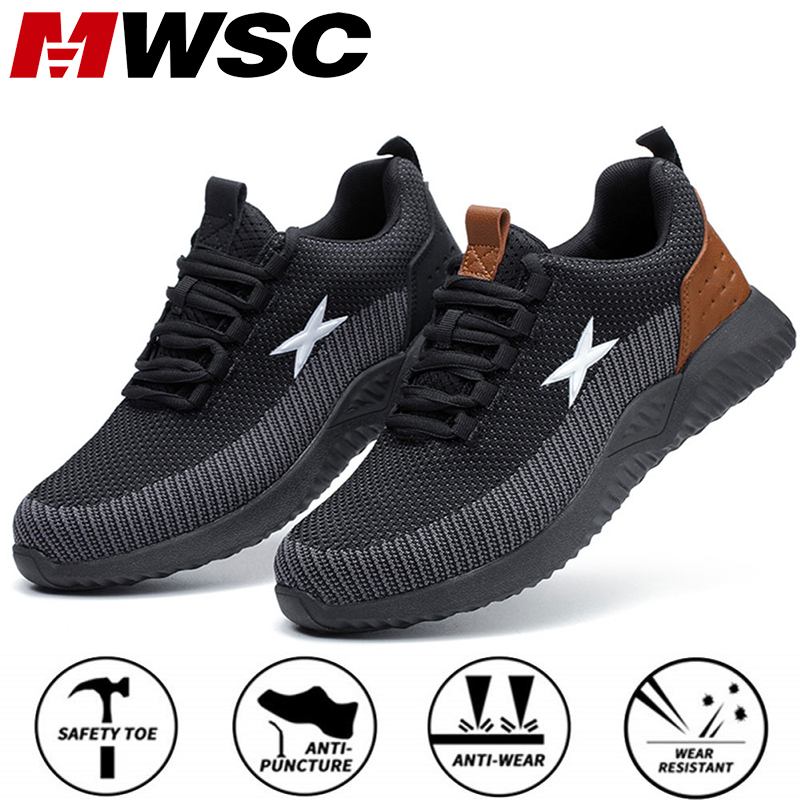 MWSC Safety Work Shoes For Men Steel Toe Cap Anti-smashing Working Boots Breathable Outdoor Construction Shoes Work Big Size 48