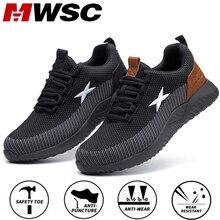 Mwsc sapatos masculinos para construção, botas de segurança do trabalho para homens com bico de aço, botas antiesmagamento e respirável, sapatos para construção ao ar livre, grande trabalho tamanho 48,Botas de segurança e trabalho