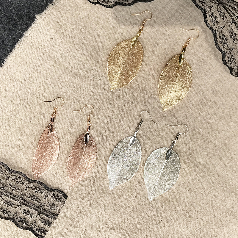 2019 Fashion Bohemian Long Earrings Unique Natural Real Leaf Big Earrings For Women Jewelry Gift oorbellen pendientes mujer mod