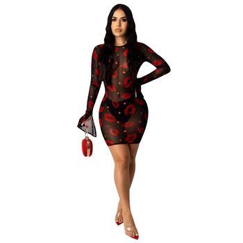 Adogirl 2020 New Summer Women Sheer Mesh Red Lips Print Sexy Club Dress Long Sleeve Round Neck See Through Short Bodycon Dress 2