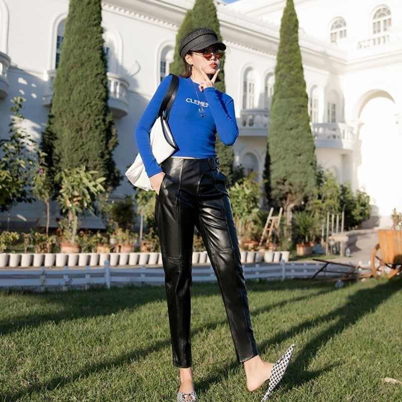 本革の女性の足首丈パンツ秋冬ハイウエストスリムフィットハーレムパンツファッションズボンプラスサイズ