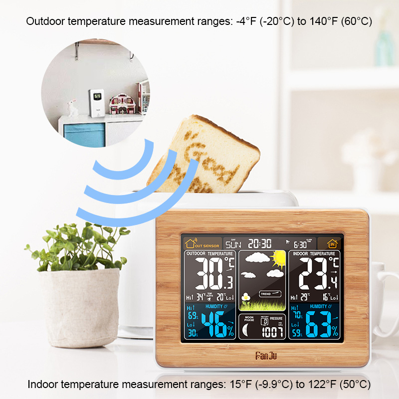 Image 3 - FanJu Alarm Clock Digital Watch Temperature Humidity Sensor Barometer Forecast Weather Station Electronic Desk Table Clocks-in Alarm Clocks from Home & Garden