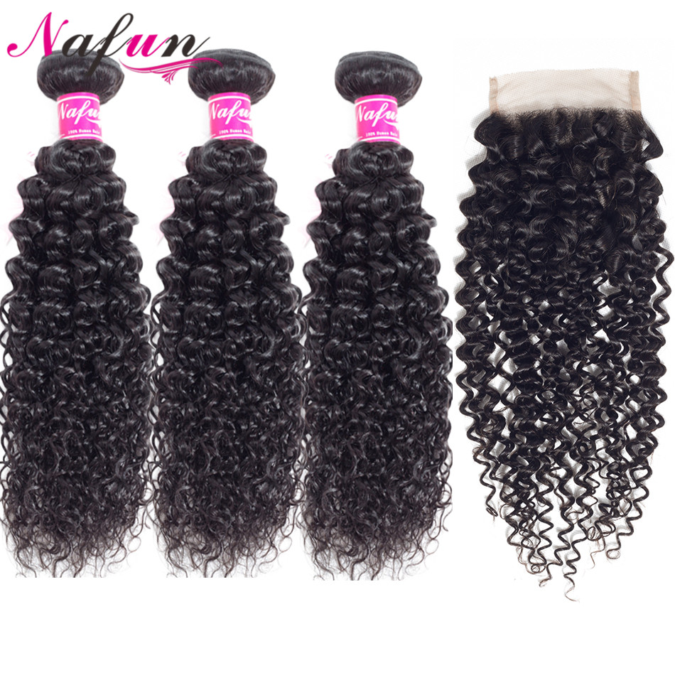 Nafun Kinky Curly Hair Bundles With Closure Human Hair Weave Bundles With Closure Peruvian Non-Remy Hair Extension Middle Ratio