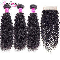 Nafun Kinky Curly Hair Bundles With Closure Human Hair Weave Bundles With Closure Peruvian Non Remy Hair Extension Middle Ratio