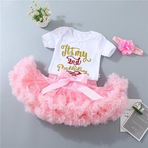 Image 3 - Del bambino delle ragazze 1st compleanno vestiti set 3 pcs Infantili primi Di Compleanno abiti Tuta top tutu pettiskirt set con la fascia