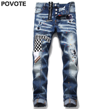 POVOTE jeans pants men's slim jeans zipper letter moto & Biker Jeans Pants Black Hole jeans men's trend design patch design zip embellished biker jeans