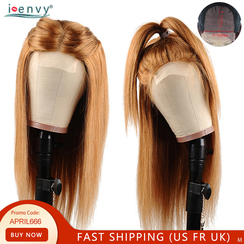 Blonde Lace Closure Human Hair Wigs For Black Women 4x4 #30 Ombre Human Hair Wigs Straight Peruvian Honey Blonde Wigs Non-Remy